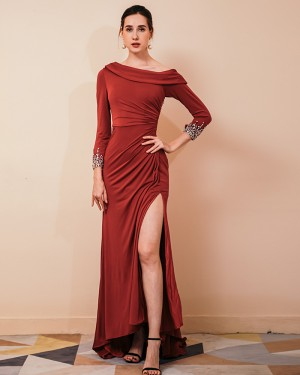 Burgundy Satin Side Slit Ruched Evening Dress with Beading Long Sleeves QS441050