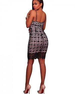 Spaghetti Straps Black Lace Bodycon Club Party Dress 5106