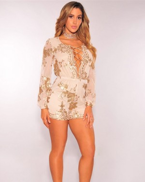 Scoop Gold Sequin Champagne Romper with Long Seelves 5137