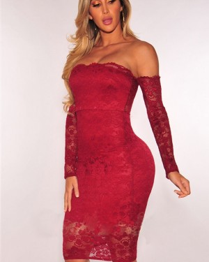 Strapless Red Lace Bodycon Knee Length Clut Dress with Long Sleeves 5886