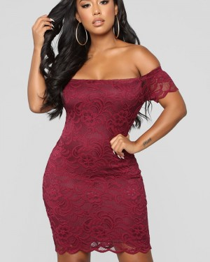 Off the Shoulder Burgundy Lace Tight Club Dress for Night Event 6070