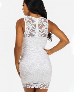 Jewel Lace White Bodycon Club Dress for Night Event 6931