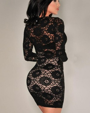 V-neck Black Lace Short Bodycon Club Dress with Long Sleeves 8563