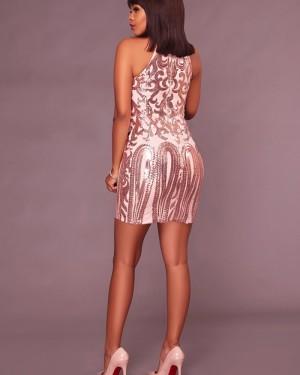 High Neck Sequin Short Bodycon Club Dress 8579