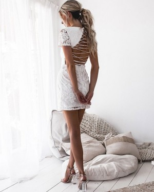 Jewel Cutout White Lace Bodycon Club Dress with Short Sleeves 8678