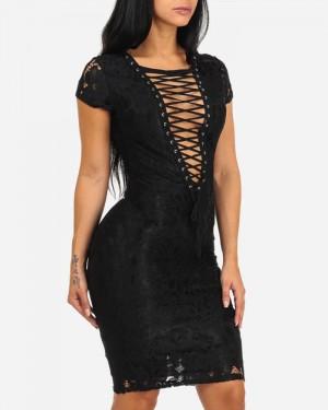 8eeca5c0a03d2 ... Black Crisscross Lace Knee Length Bodycon Club Dress with Short Sleeves  9566