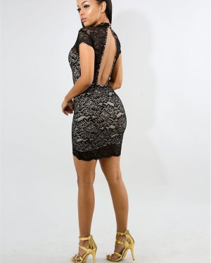High Neck Black Lace Bodycon Club Dress with Short Sleeves 9861