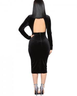 High Neck Knee Length Black Rhinestone Bodycon Club Dress with Long Sleeves 9983
