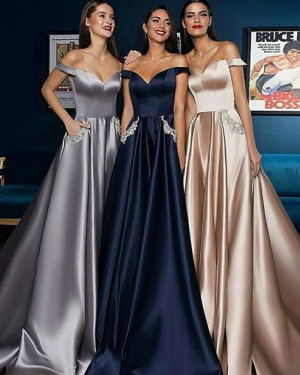 Long Pleated Off the Shoulder Satin Evening Dress with Beading Pockets BD2001