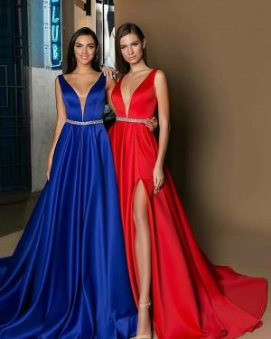 Satin Long Elegant Deep V-neck Evening Dress with Side Slit BD2002