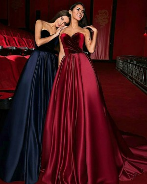 Satin Ruched Sweetheart Ball Gown Evening Dress with Court Train BD2003
