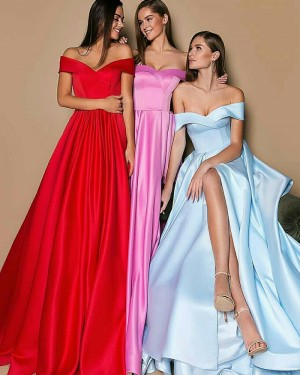 Off the Shoulder Long Simple Pleated Evening Dress with Slit BD2011