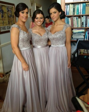 Queen Anne Appliqued Grey Chiffon Long Bridesmaid Dress BD2012