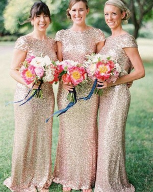 Sequined Mermaid Jewel Gold Long Bridesmaid Dress with Cap Sleeves BD2014