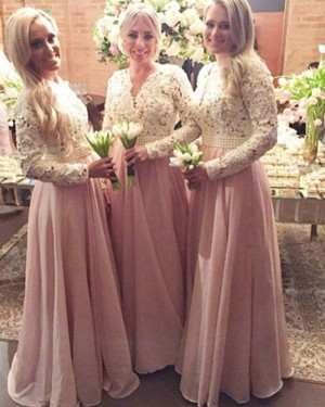 V-neck Long Lace Bodice White and Pink Bridesmaid Dress with Long Sleeves BD2015