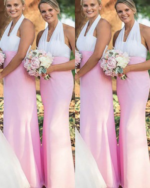 Long Mermaid White and Blush Halter Bridesmaid Dress BD2017