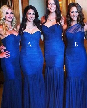 Royal Blue Sweetheart Pleated Mermaid Long Bridesmaid Dress BD2019