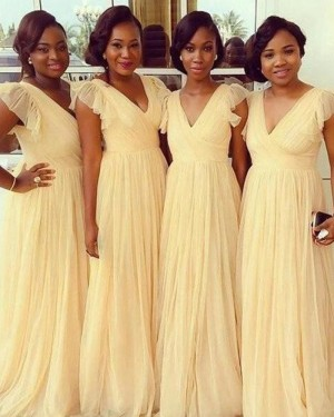 Yellow Ruched V-neck Floor Length Tulle Bridesmaid Dress BD2020
