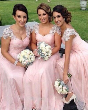 Pink Tulle Floor Length Ruched Bridesmaid Dress with Cap Sleeves BD2021