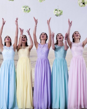 Lace Bodice High Neck Chiffon Long Bridesmaid Dress BD2024