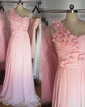 One Shoulder Ruched Pink Handmade Flower Long Bridesmaid Dress BD2025