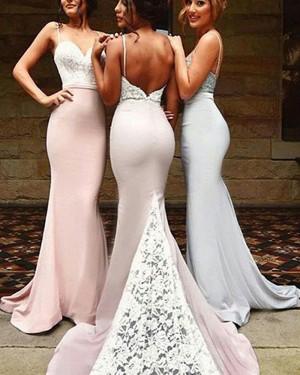 Lace Bodice Spaghetti Straps Mermaid Bridesmaid Dress with Court Train BD2028