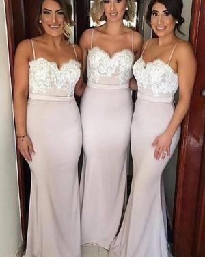 Long Lace Bodice Pearl Pink Spaghetti Straps Mermaid Bridesmaid Dress BD2029