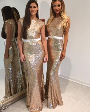 Long Jewel Gold Sequined Mermaid Bridesmaid Dress with Belt BD2030