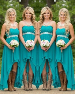 High Low Teal Chiffon Strapless Empire Bridesmaid Dress with Belt BD2031