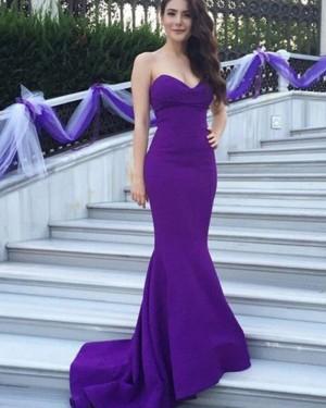 Sweetheart Mermaid Satin Simple Blue Evening Dress BD2032