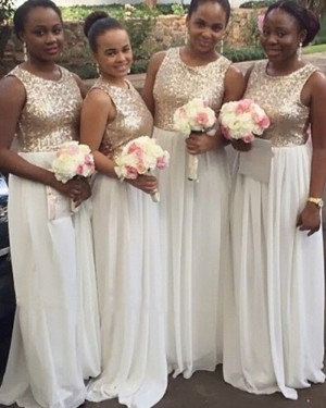 Long Gold and White Sequined Bodice Chiffon Bridesmaid Dress BD2033