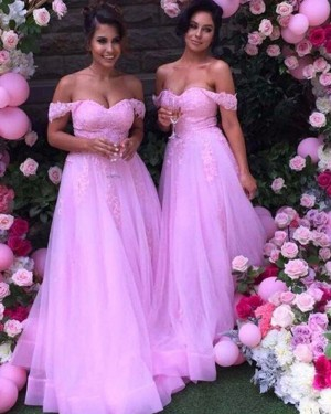 Blush Pink Tulle Off the Shoulder Lace Appliqued Bridesmaid Dress BD2034
