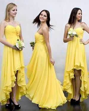 Flower Chiffon Yellow High Low Spaghetti Straps Ruched Bridesmaid Dress BD2035
