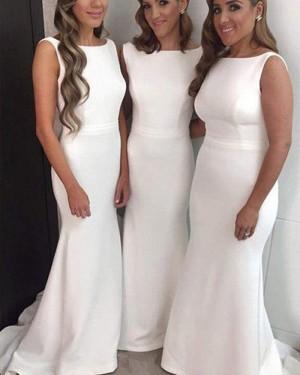 Bateau White Simple Satin Mermaid Floor Length Bridesmaid Dress BD2037