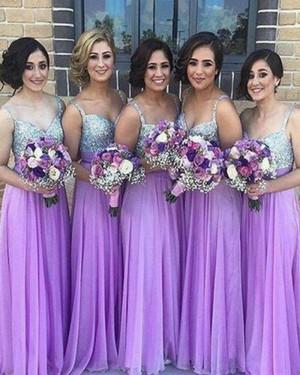 Long Square Purple Sequined Bodice Chiffon Bridesmaid Dress BD2039