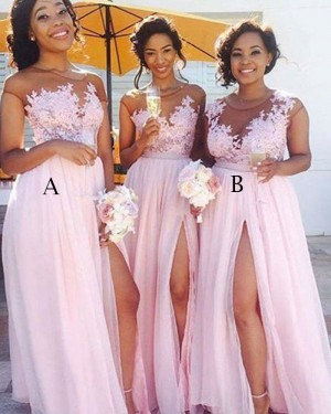 Chiffon Pink Sheer Appliqued Bodice Bridesmaid Dress with High Slit BD2041