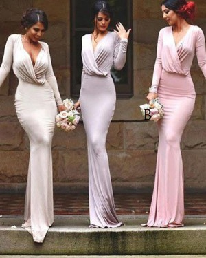 V-neck Simple Ruched Mermaid Bridesmaid Dress with Long Sleeves BD2042