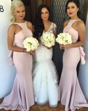 Dusty Pink Jewel Cutout Satin Mermaid Bridesmaid Dress BD2043