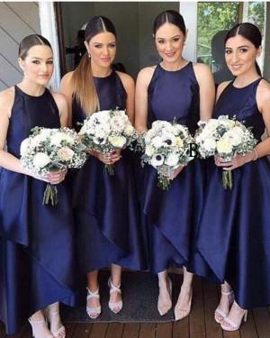 Navy Blue Satin Round Neck Tea Length Bridesmaid Dress BD2044