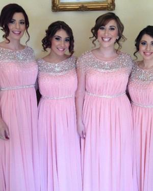 Jewel Beading Pink Pleated Ruched Chiffon Bridesmaid Dress BD2045