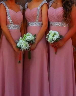Ruched Blush Pink Square Beading Satin Bridesmaid Dress BD2046