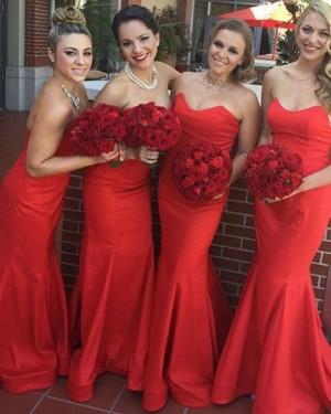 Simple Red Mermaid Sweetheart Satin Bridesmaid Dress BD2047