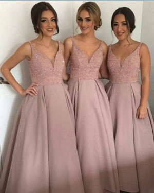 Blush Beading Bodice V-neck Satin Ball Gown Bridesmaid Dress BD2049