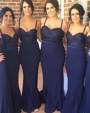 Beading Spaghetti Straps Navy Blue Satin Mermaid Bridesmaid Dress BD2050