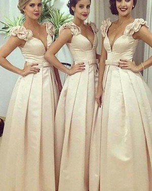 Satin Ivory Pleated Deep V-neck Ball Gown Bridesmaid Dress BD2052