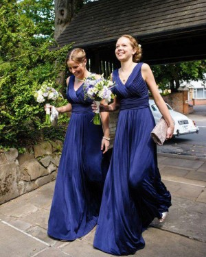 V-neck Blue Simple Ruched Long Bridesmaid Dress BD2053