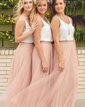 Elegant Tulle V-neck White and Pink Bridesmaid Dress BD2057