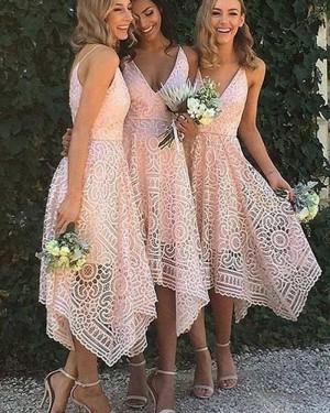 Amazing V-neck Tea Length Pink Lace Asymmetric Bridesmaid Dress BD2058