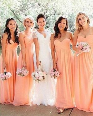 Coral Chiffon Sweetheart Ruched Bridesmaid Dress BD2060