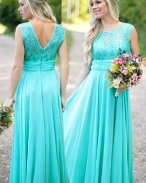 Long Jewel Mint Chiffon Lace Bodice Bridesmaid Dress BD2061
